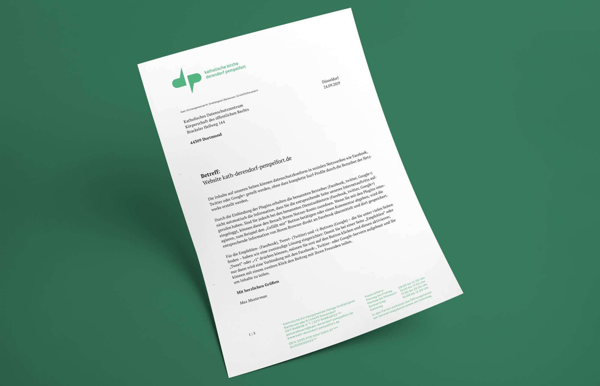 Katholische Kirchengemeinde Derendorf Pempelfort Düsseldorf Briefbogen Corporate Design