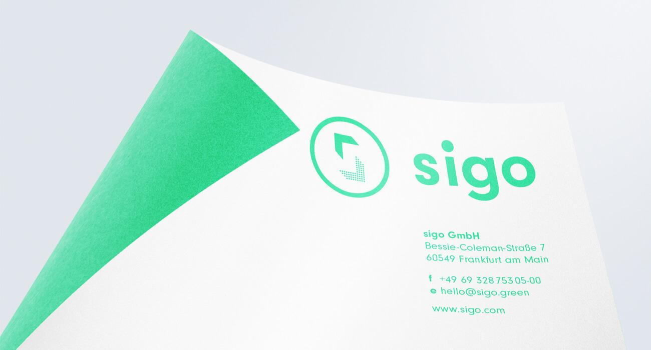 sigo GmbH E-Lastenfahrrad Corporate Design Geschäfstausstattung Briefbogen