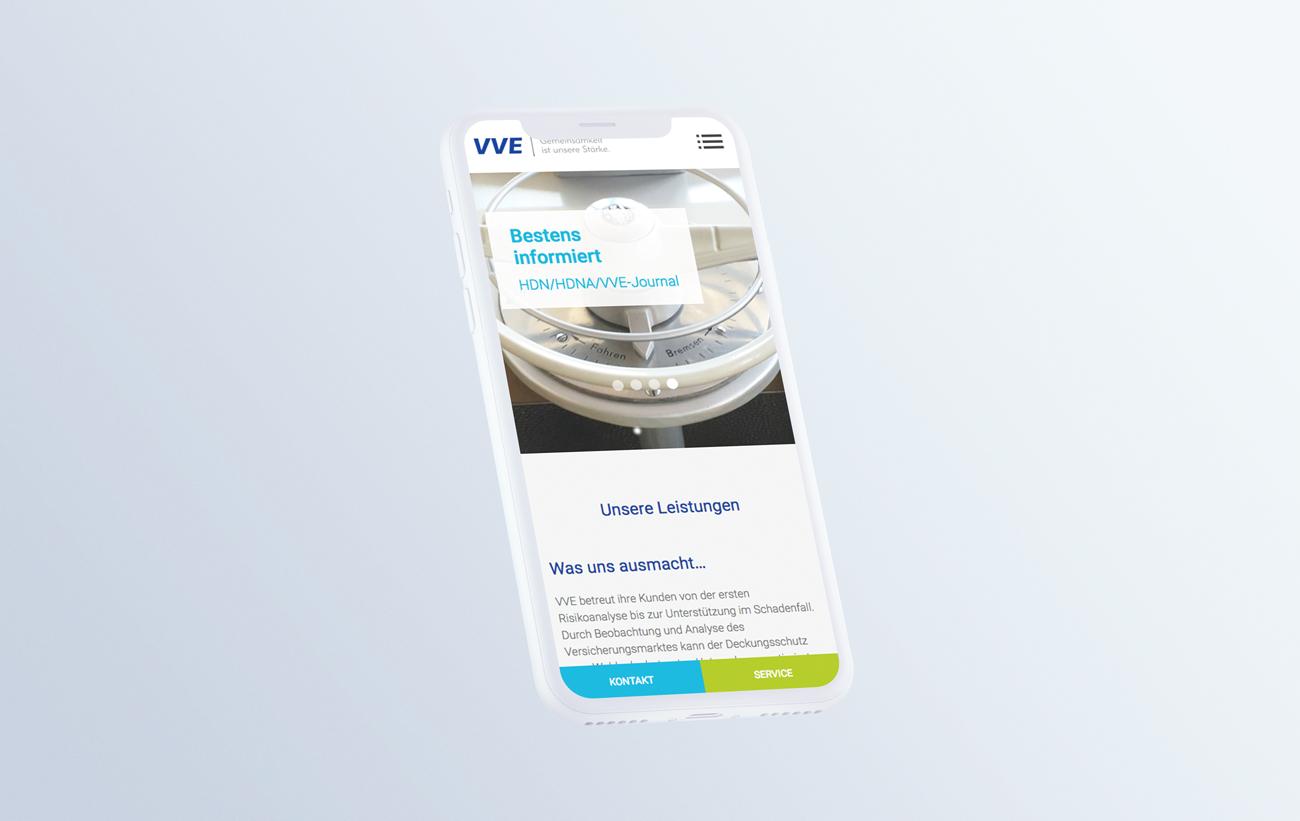 Responsive Darstellung auf einem Smartphone für HDN/HDNA/VVE Versicherungen