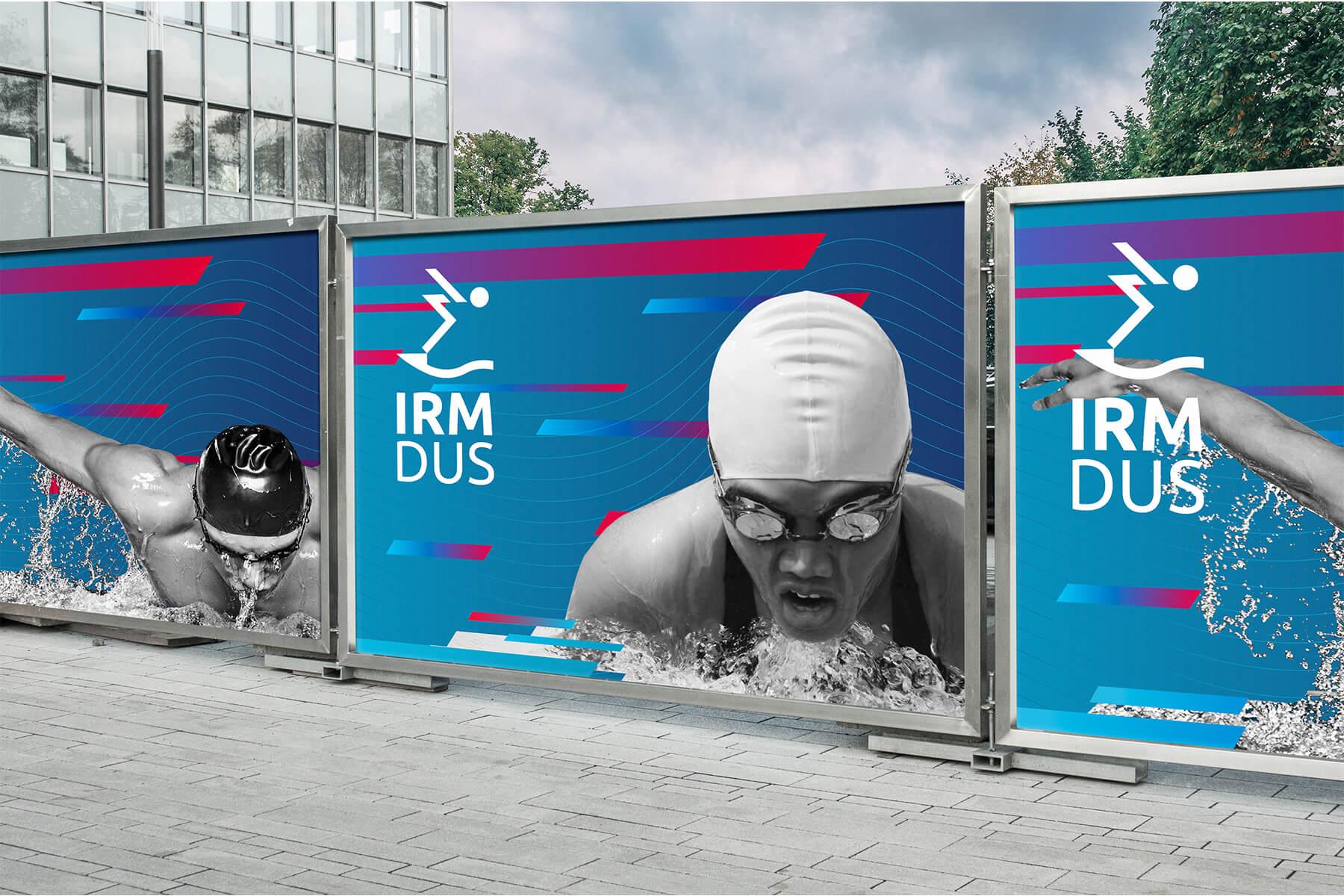IRM DUS Logo Internationales Rheinmeeting Düsseldorf Eventmarketing Sport Aussenwerbung Absperrungsbanner