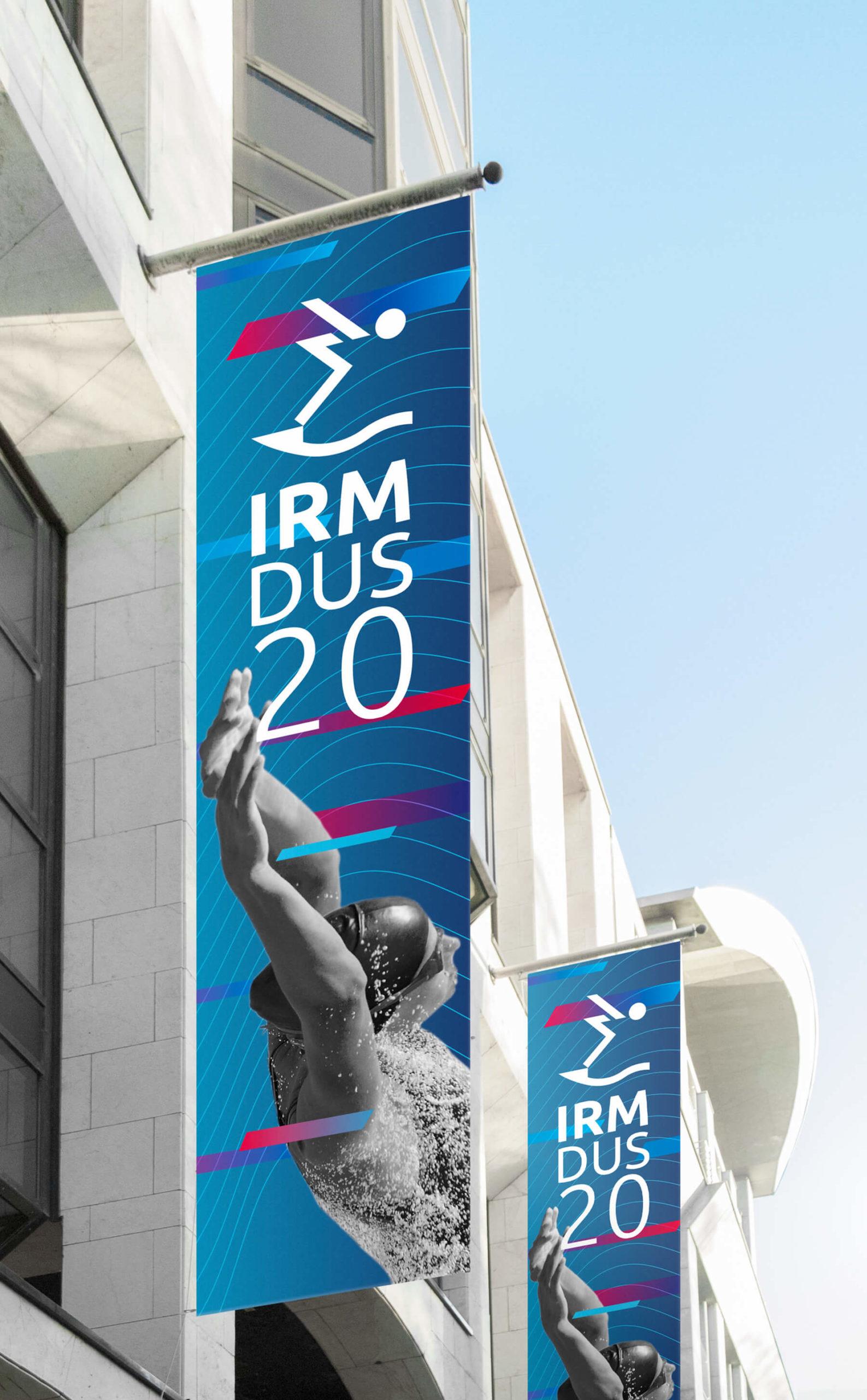 IRM DUS Logo Internationales Rheinmeeting Düsseldorf Eventmarketing Sport Aussenwerbung Fahnen