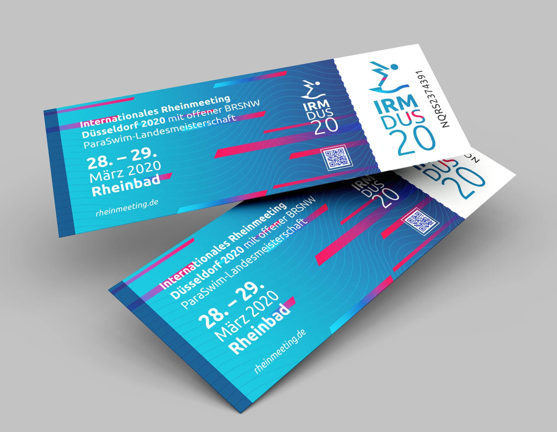IRM DUS Logo Internationales Rheinmeeting Düsseldorf Eventmarketing Sport Tickets Ticketdesign