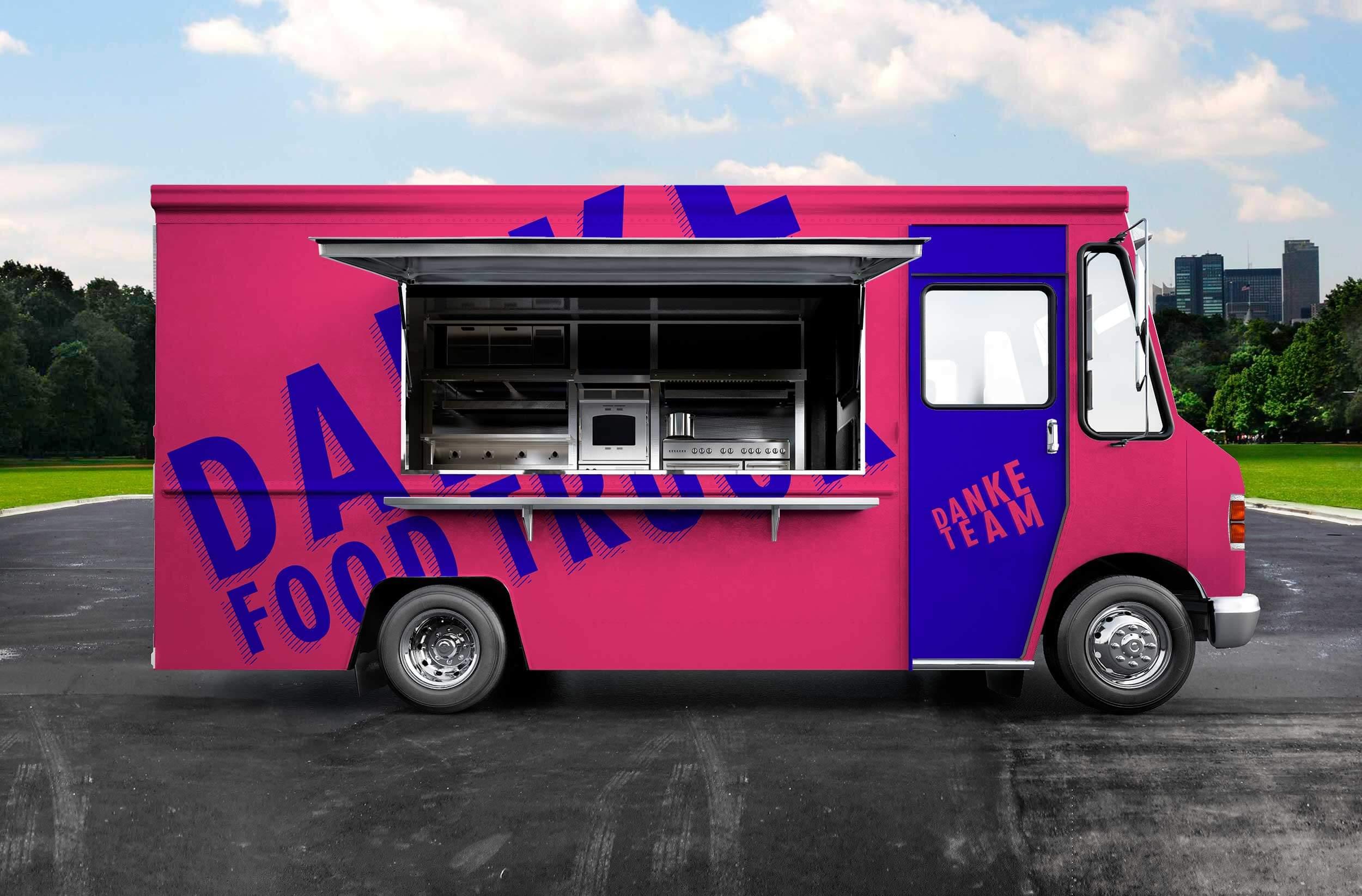 Danke Team Aktion Burger und Limonaden für systemrelevante Berufe Branding Food Truck