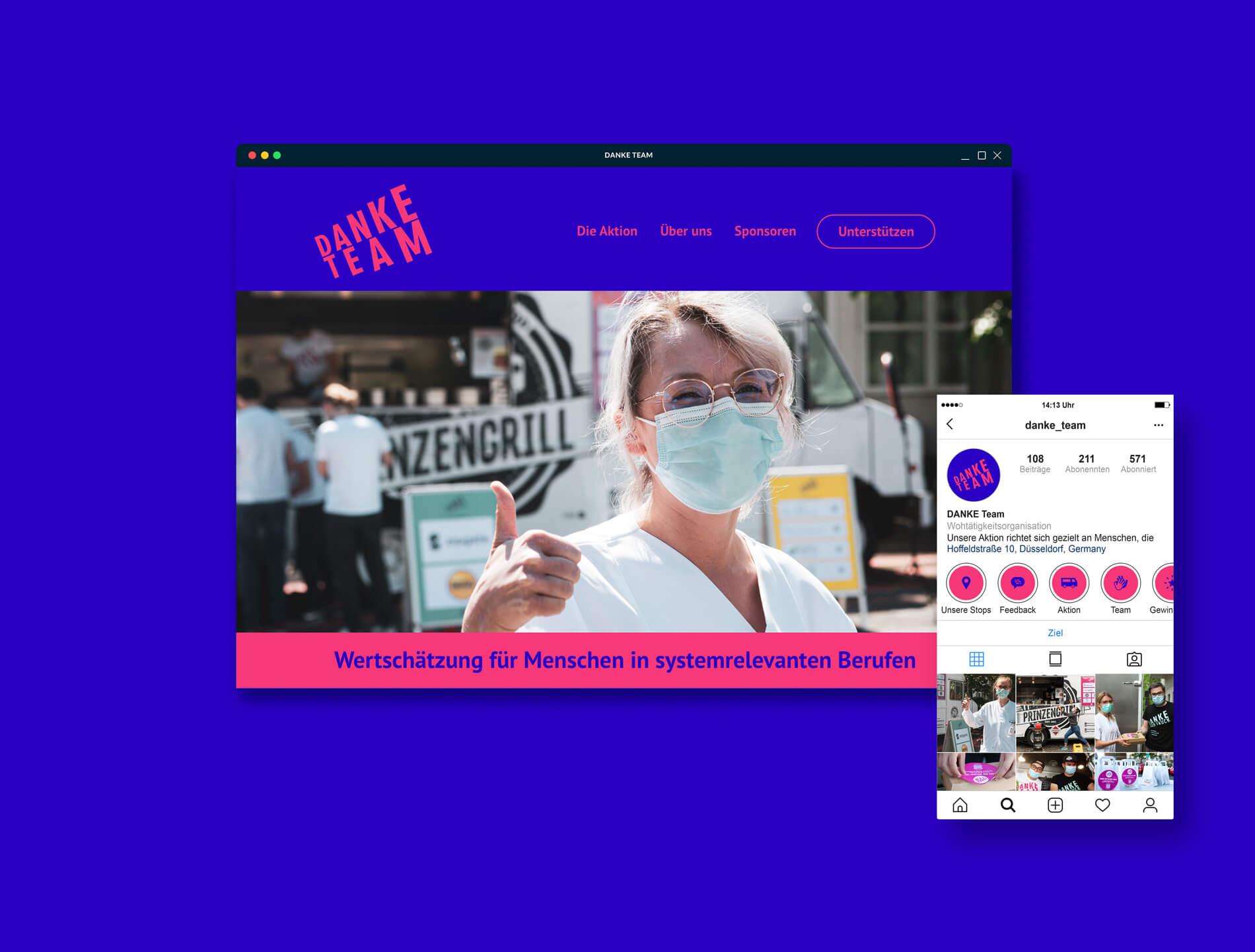 Danke Team Aktion Burger und Limonaden für systemrelevante Berufe Website Webdesign Instagram