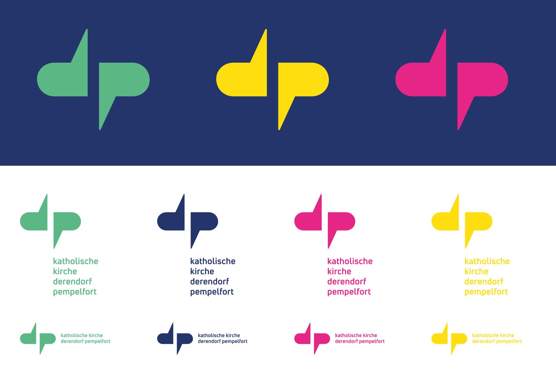 Katholische Kirchengemeinde Derendorf Pempelfort Düsseldorf Logo Corporate Design Farbdarstellungen