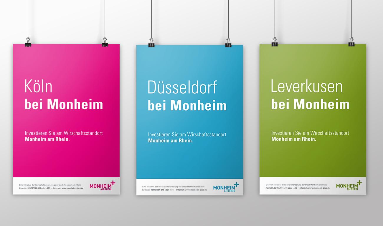 Monheim plus Logo Monheim am Rhein Aussenwerbung Plakatkampagne Köln bei Monheim