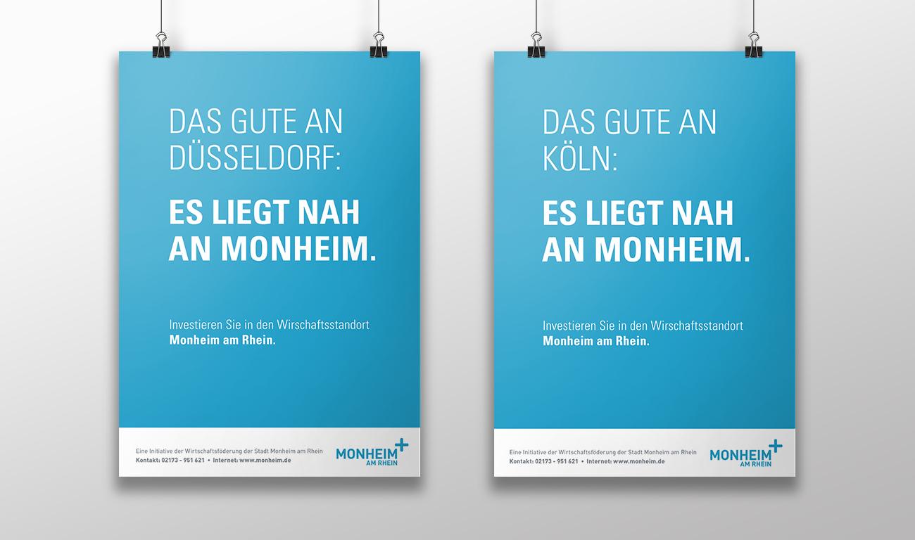 Monheim plus Logo Monheim am Rhein Aussenwerbung Plakatkampagne