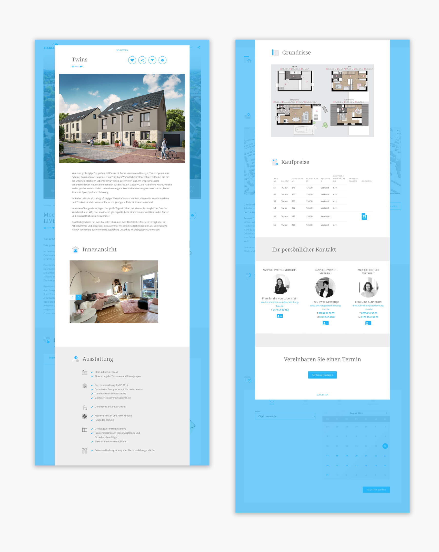 Tecklenburg Bau Immobilien Webdesign und Programmierung Düsseldorf und Straelen