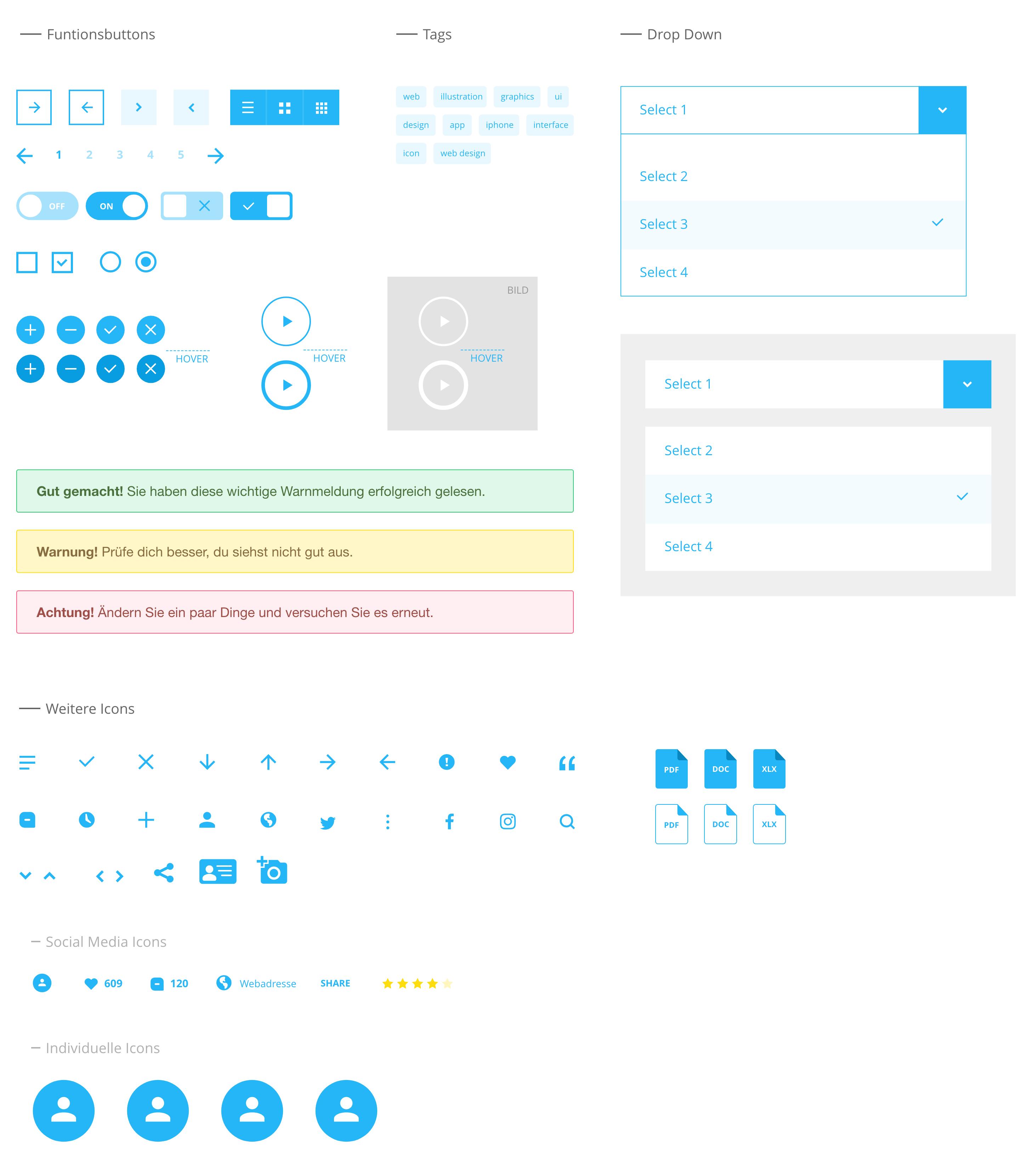 Tecklenburg Bau GmbH Webdesign Designsystem Buttons und Hinweisfelder