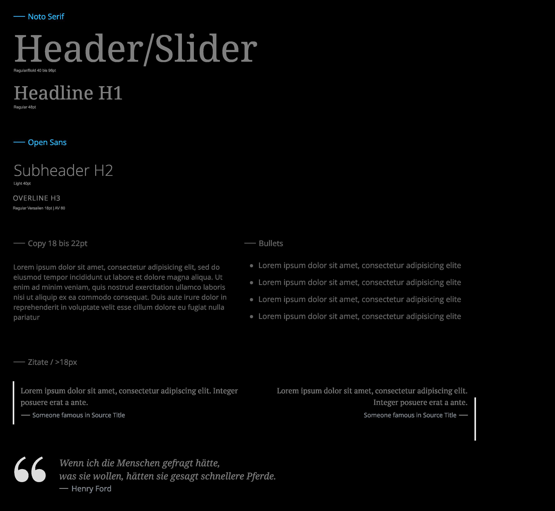 Tecklenburg Bau GmbH Webdesign Designsystem Typografie