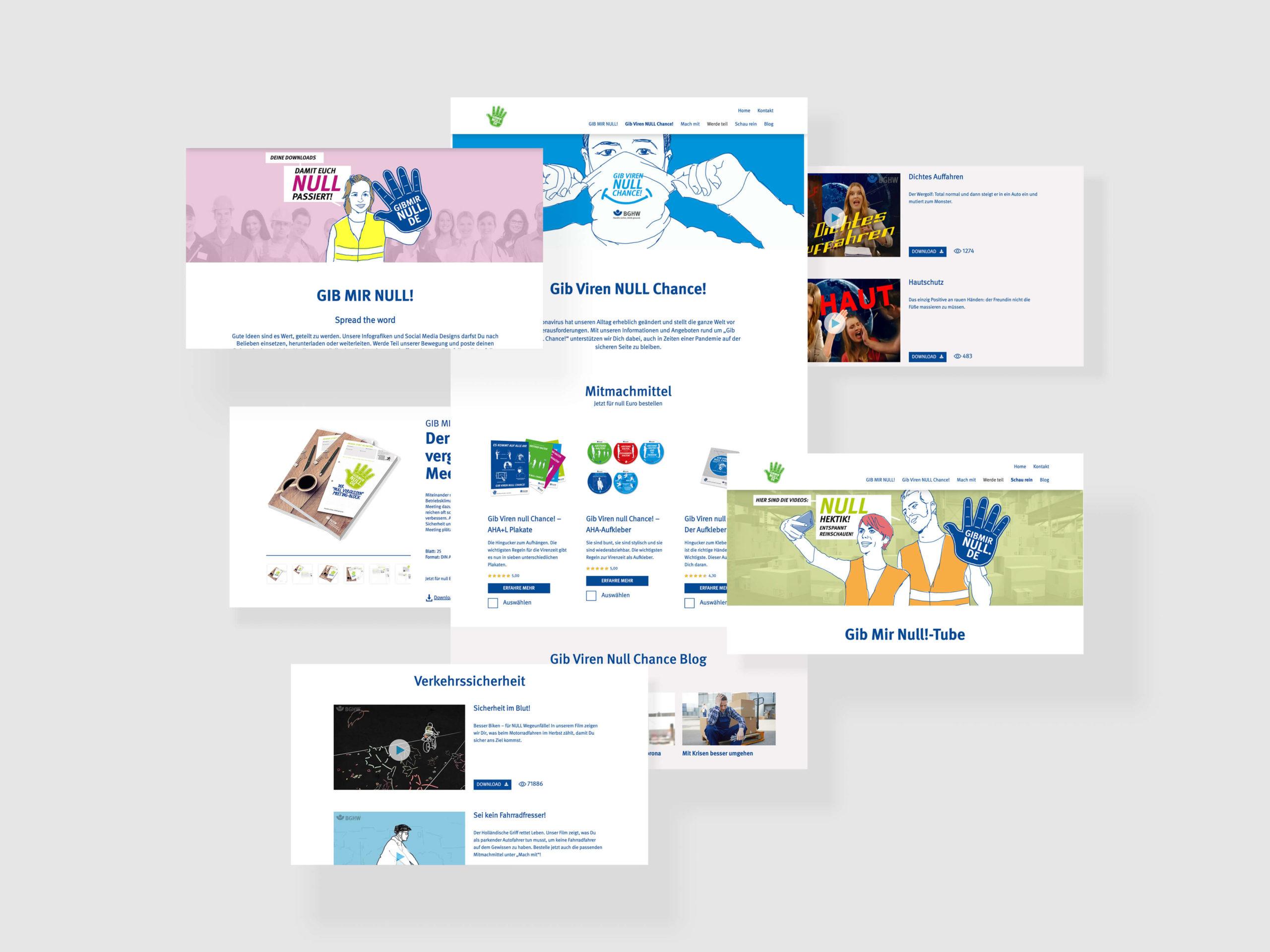BGHW Gib Viren null Chance Webdesign Homepage und Unterseiten Blog Videoseiten