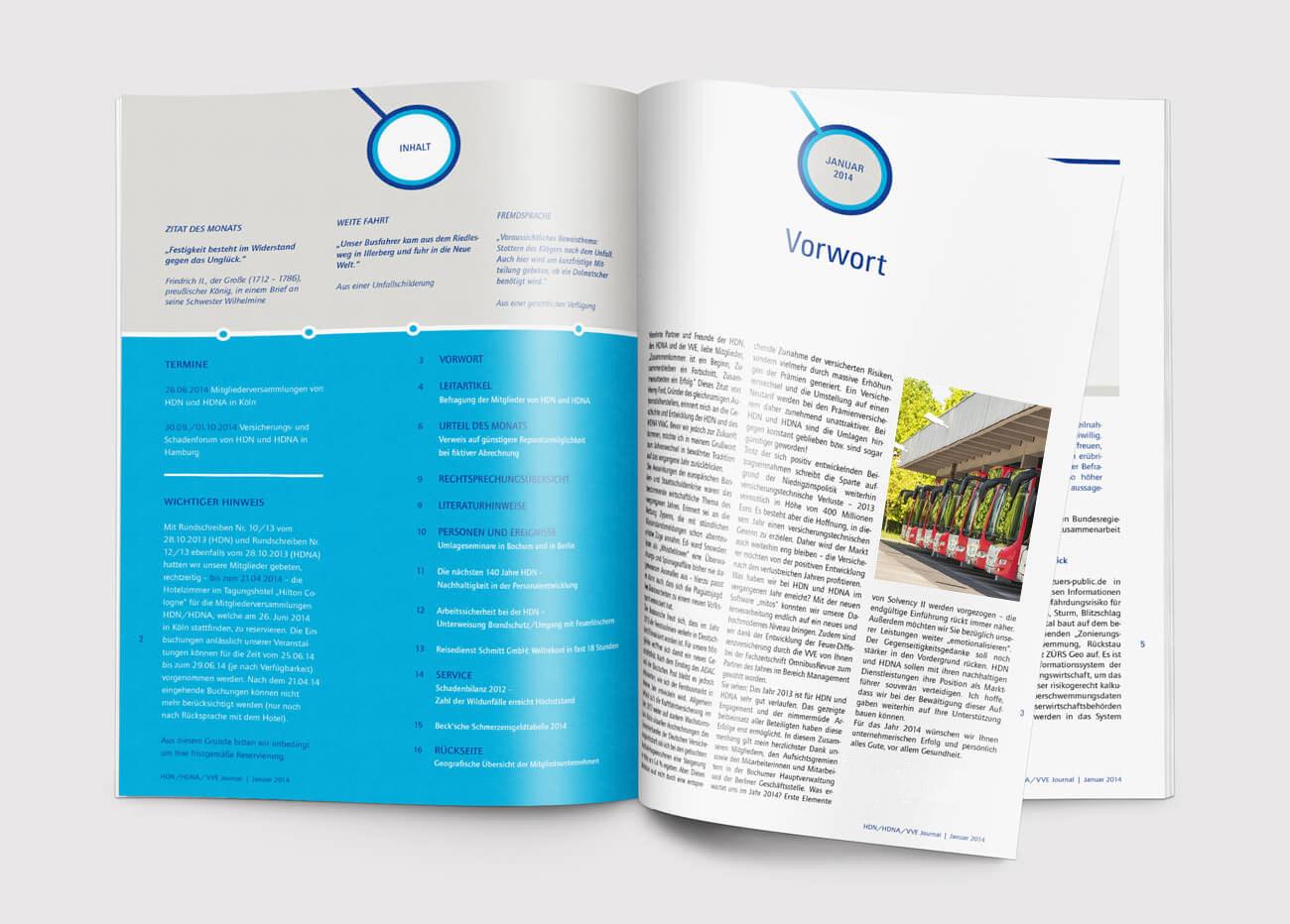 HDN/HDNA/VVE Versicherungen Bochum Magazin Innenseiten