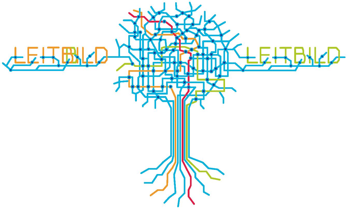 HDN/HDNA/VVE Versicherungen Bochum Illustration und Grafik ÖBNV Verkehrsnetz als Baum