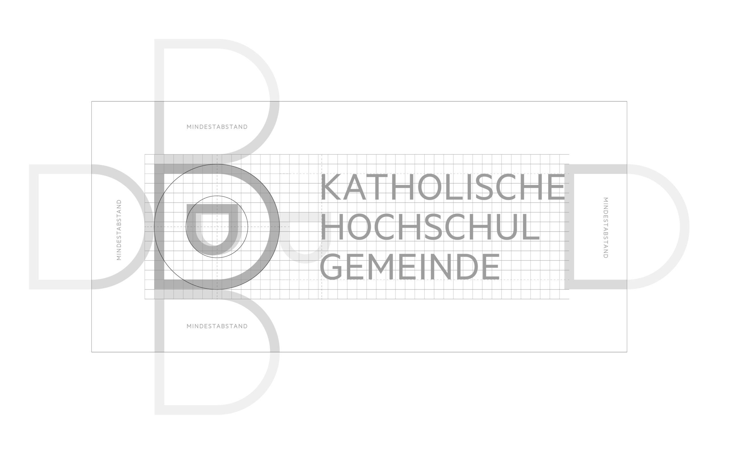 Katholische Hochschulgemeinde Düsseldorf Corporate Design Logo Konstruktion und Schutzzone