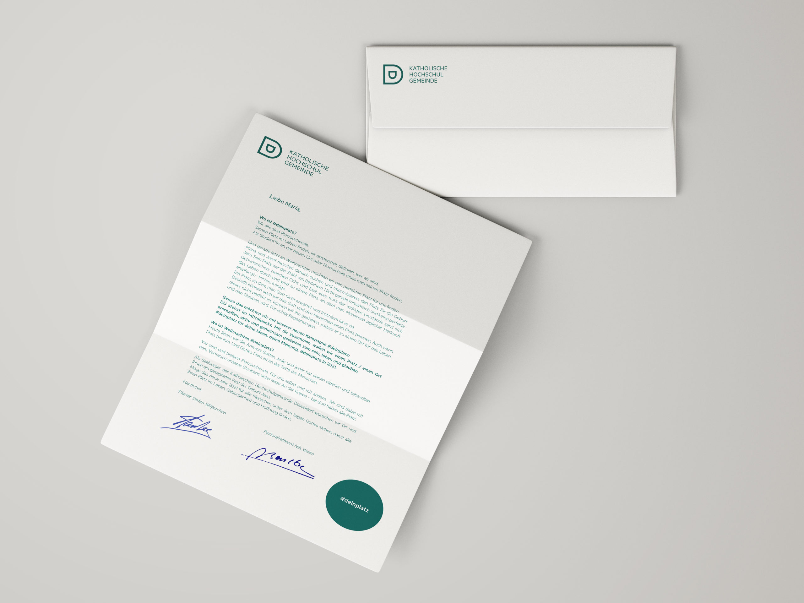 Katholische Hochschulgemeinde Düsseldorf Corporate Design Geschäftsausstattung Briefbogen und Briefumschlag