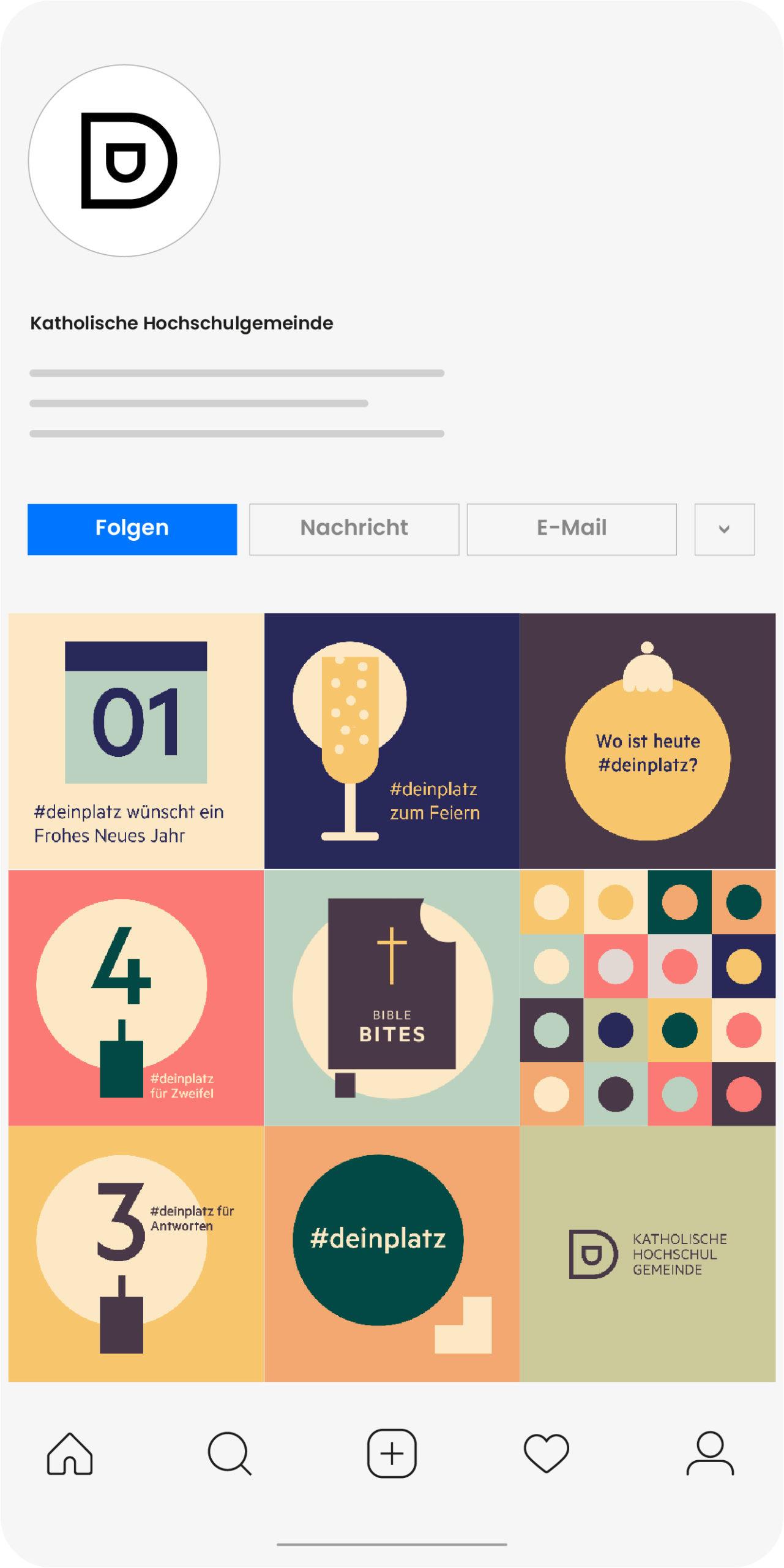 Katholische Hochschulgemeinde Düsseldorf Social Media Post auf Instagram Übersicht