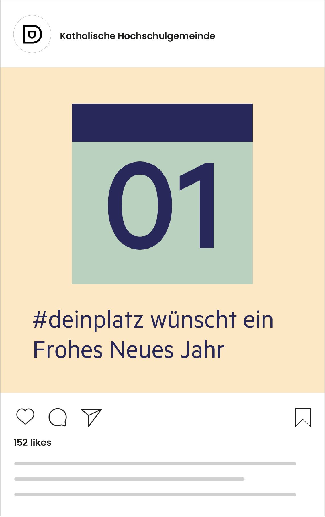 Katholische Hochschulgemeinde Düsseldorf Social Media Post zum Neujahr