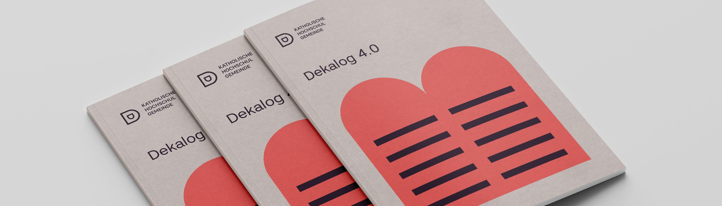 Katholische Hochschulgemeinde Düsseldorf Editorial Design DIN lang Flyer Titelseiten zum Thema Dekalog