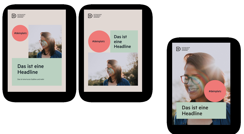 Katholische Hochschulgemeinde Düsseldorf Editorial Design DIN lang Flyer Titelseiten
