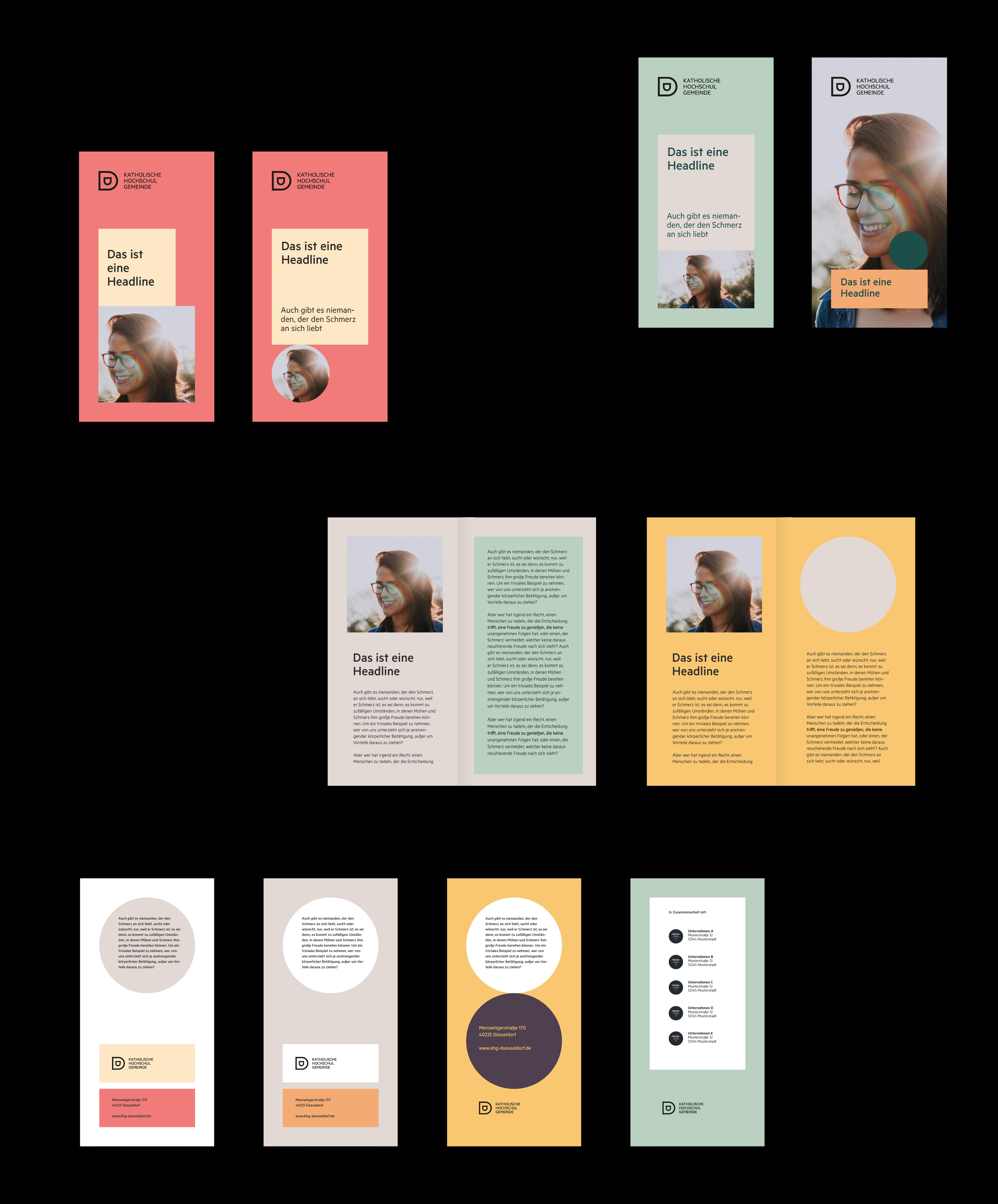 Katholische Hochschulgemeinde Düsseldorf Editorial Design DIN lang Flyer Titelseiten und Innenseiten