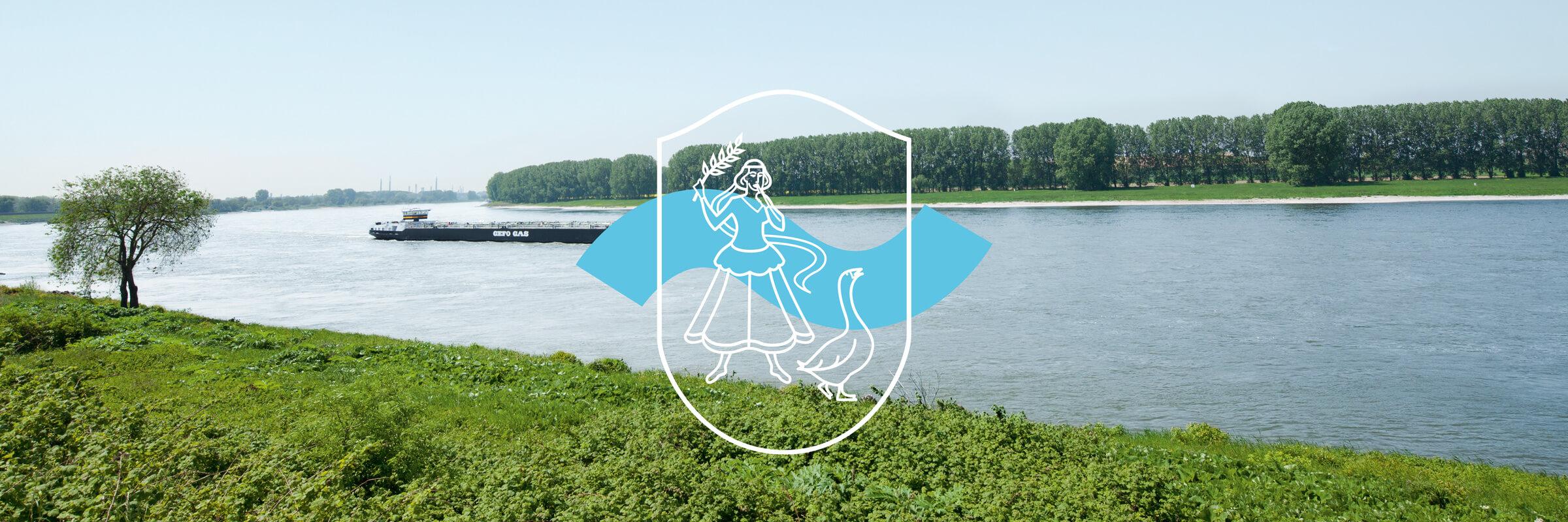 Logoentwicklung für die Stadt Monheim am Rhein bei Düsseldorf mit Bild vom Rhein