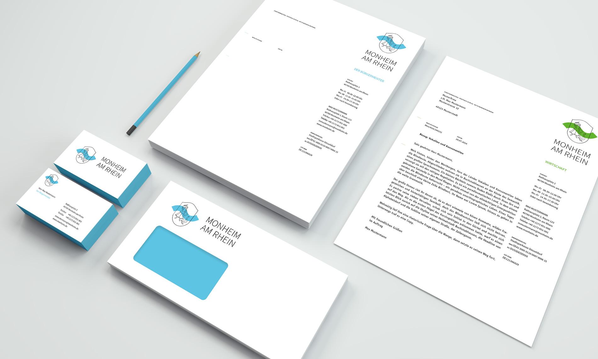 Monheim am Rhein Corporate Design Geschäftsausstattung Visitenkarten und Briefbogen