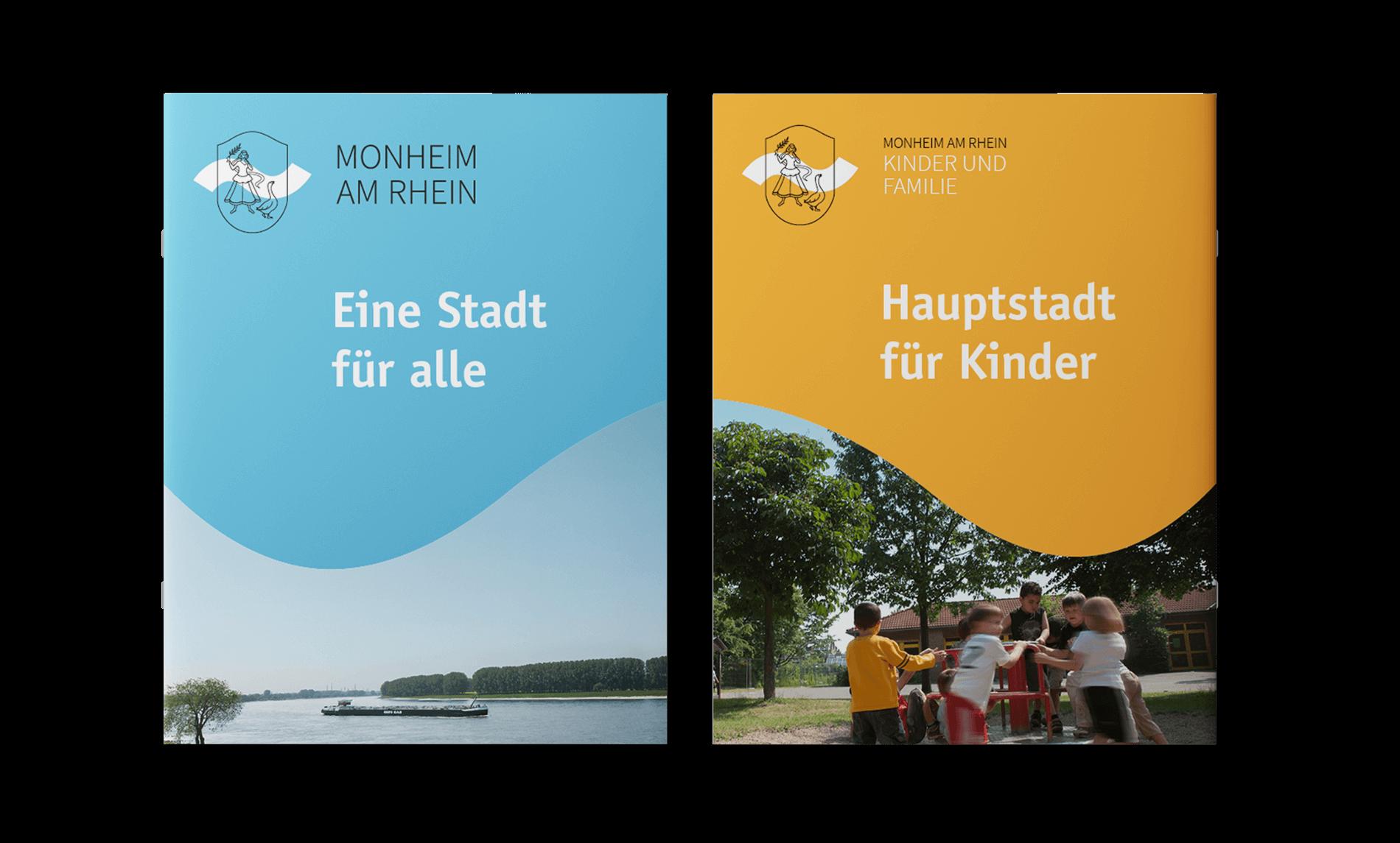 Monheim am Rhein Imagebroschüre Titelseiten bau und gelb