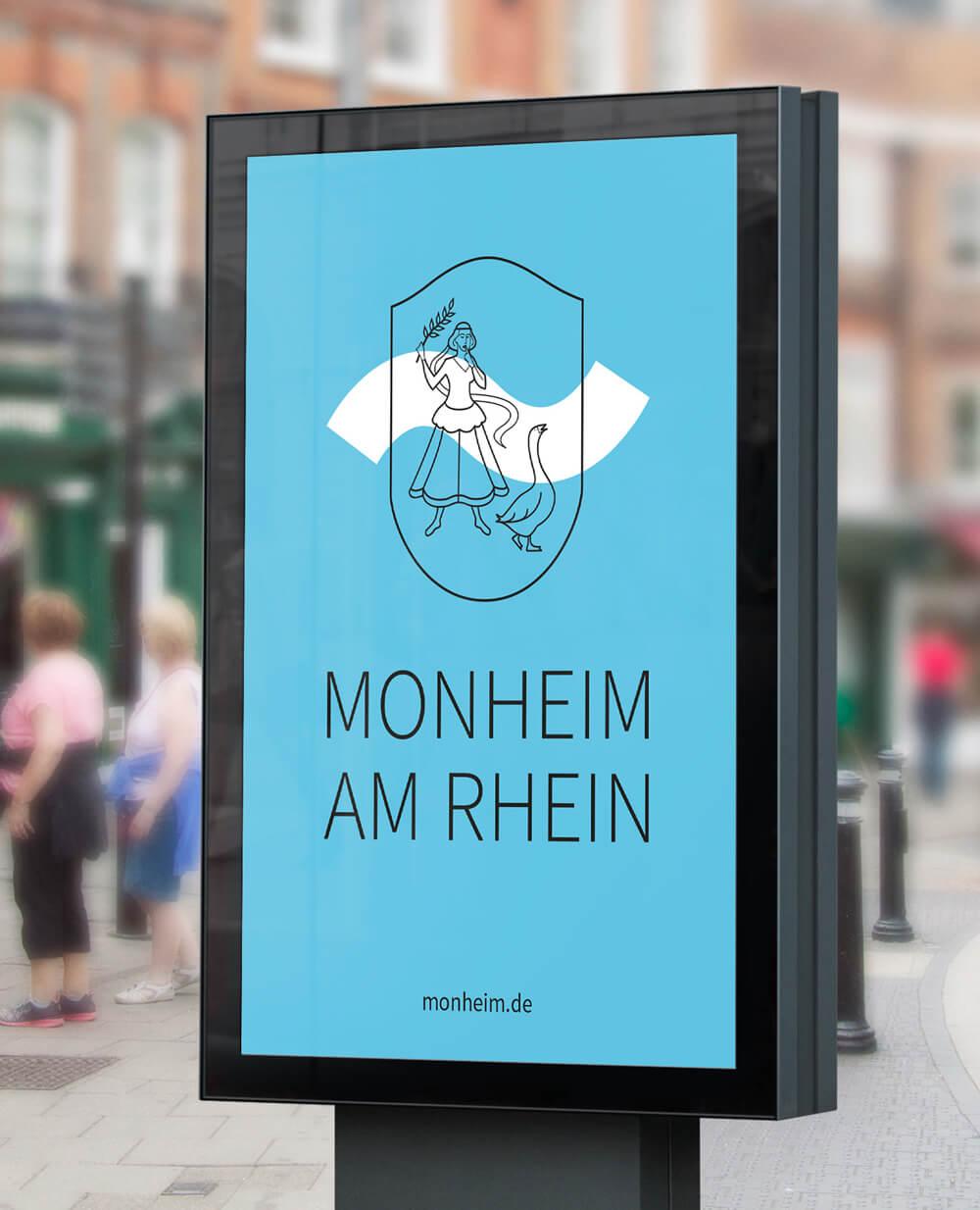 Monheim am Rhein Logo Aussenwerbung Citylight blau