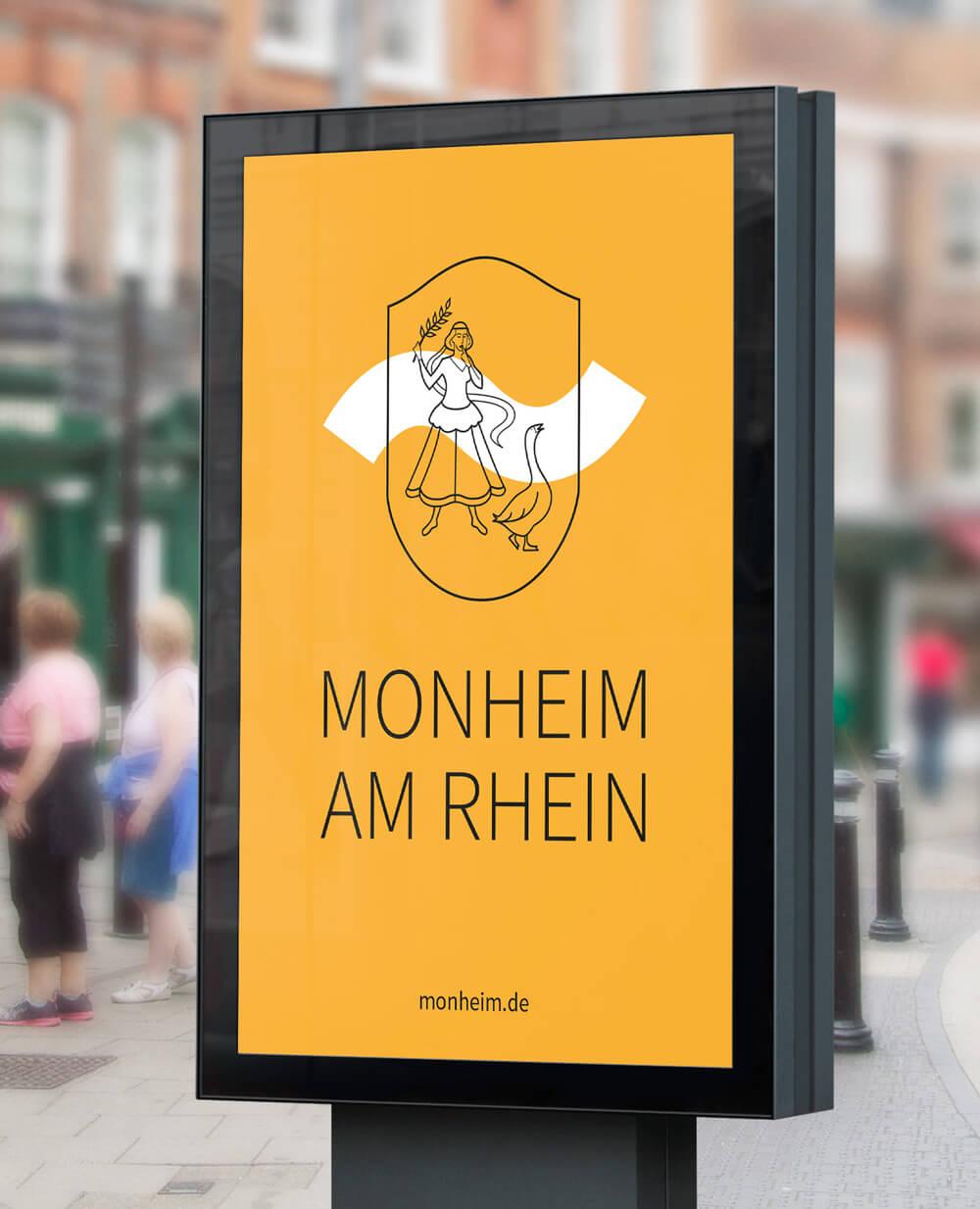 Monheim am Rhein Logo Aussenwerbung Citylight orange gelb