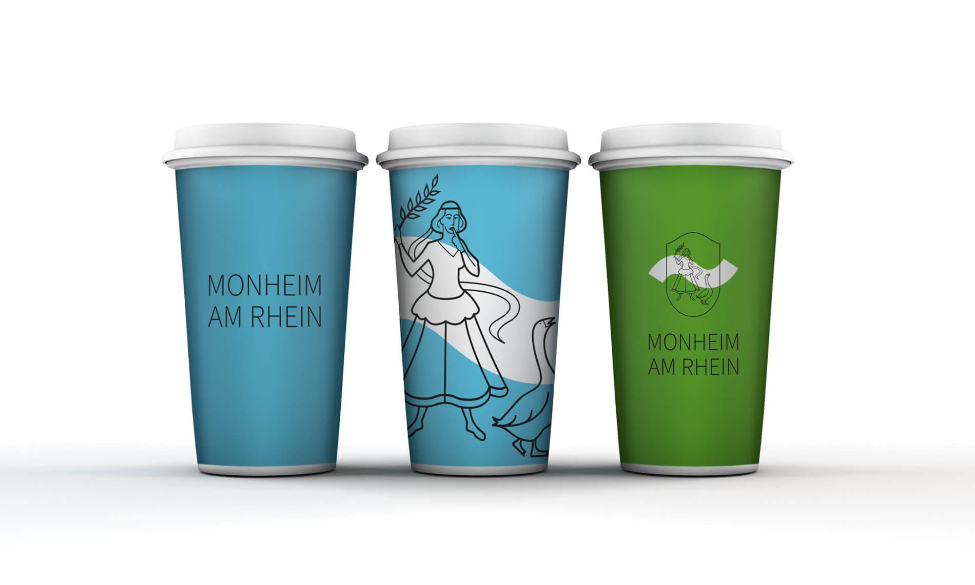 Monheim am Rhein Werbemittel Coffee to go Becher blau und grün