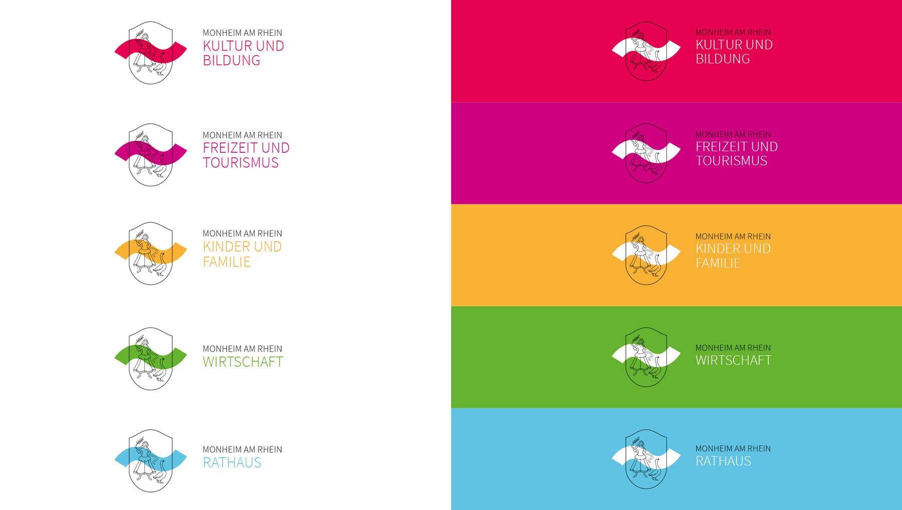 Monheim am Rhein Corporate Manual Logo in verschiedenen Farbvarianten
