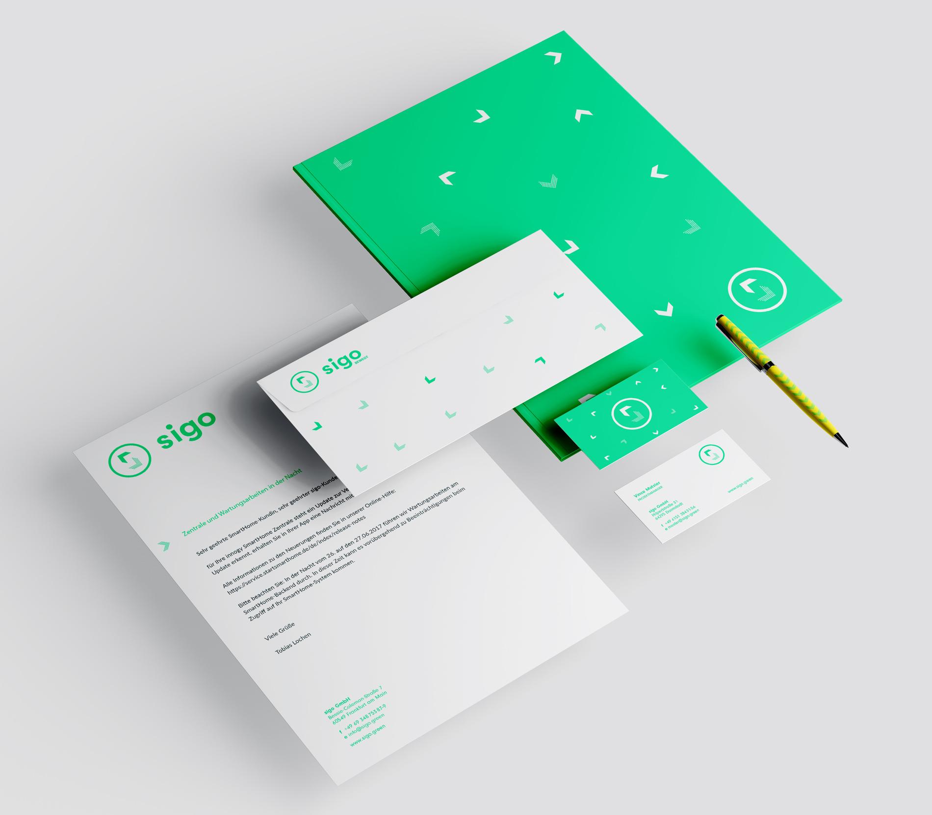 sigo GmbH Lastenfahrrad Geschäftsausstattung Briefbogen Visitenkarte Briefumschlag