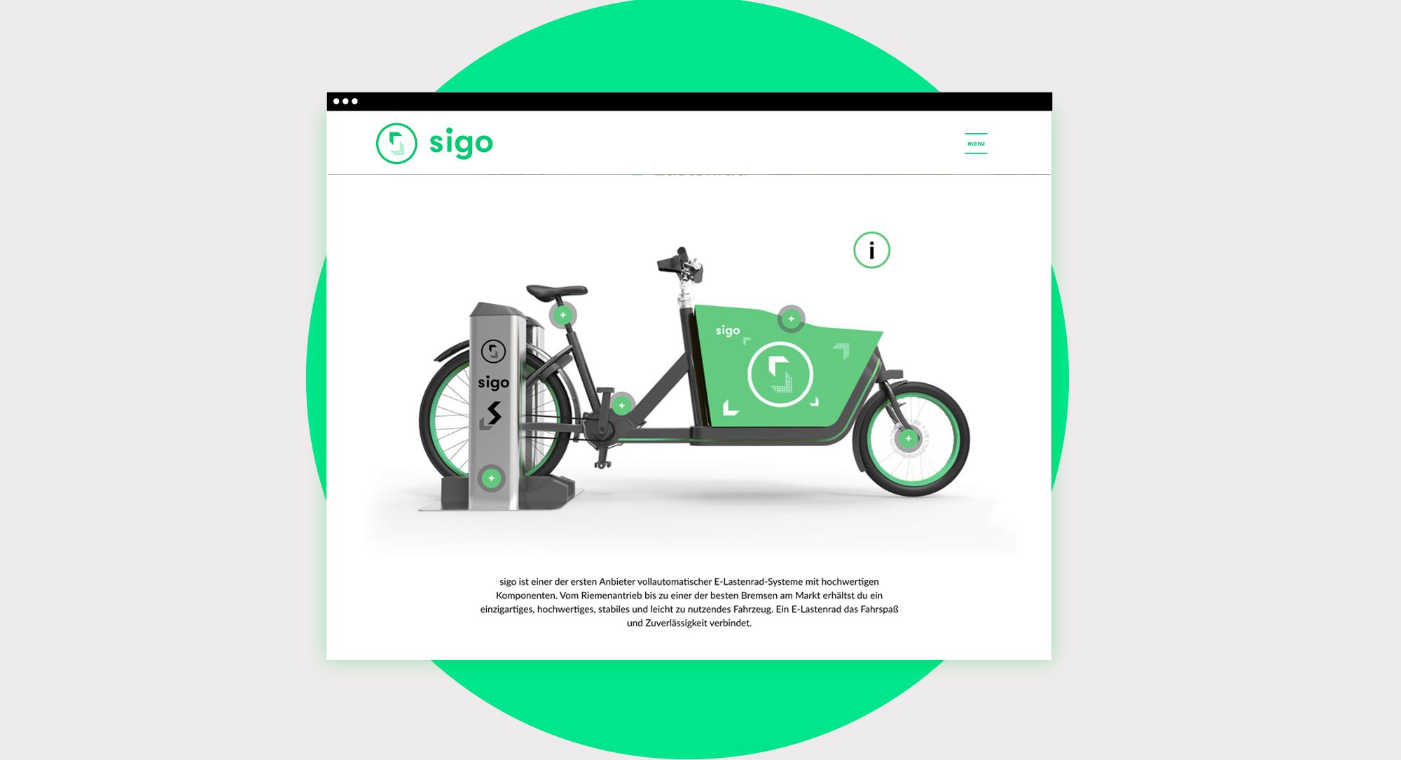 sigo GmbH Lastenfahrrad Website Webdesign UX und UI