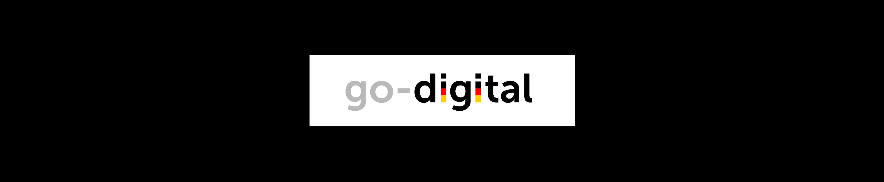 go-digital logo auf schwarzem Untergrund für ein Beratugsunternehmen