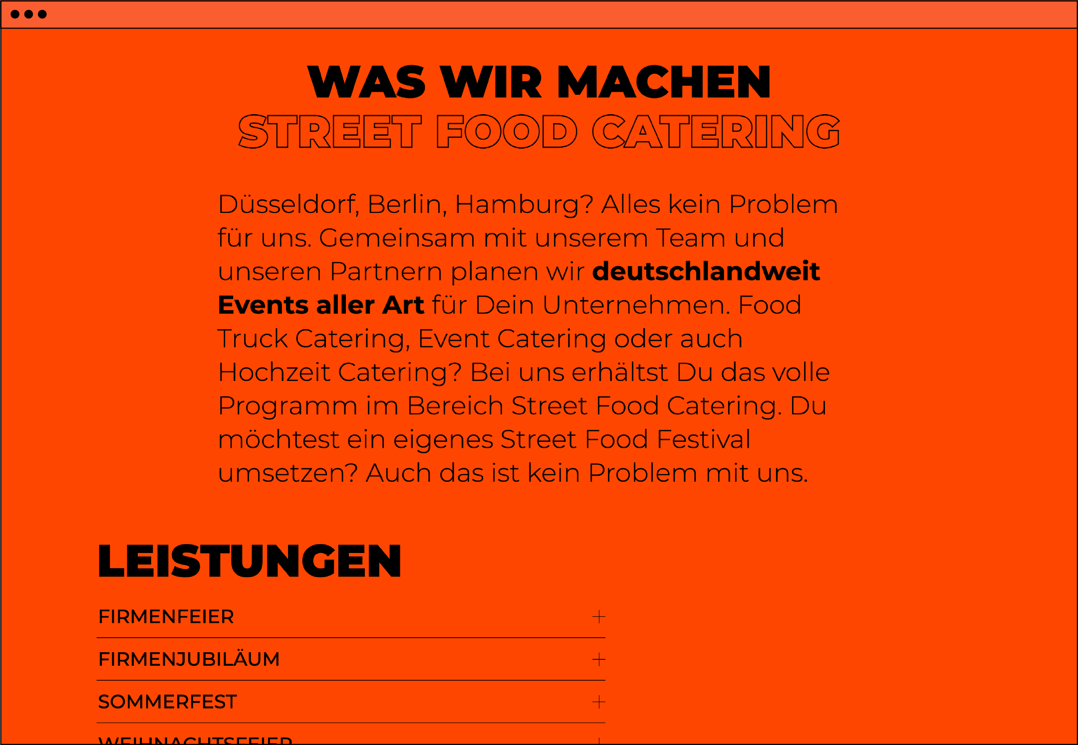 Website Webdesign Homepage UX UI Food Truck
