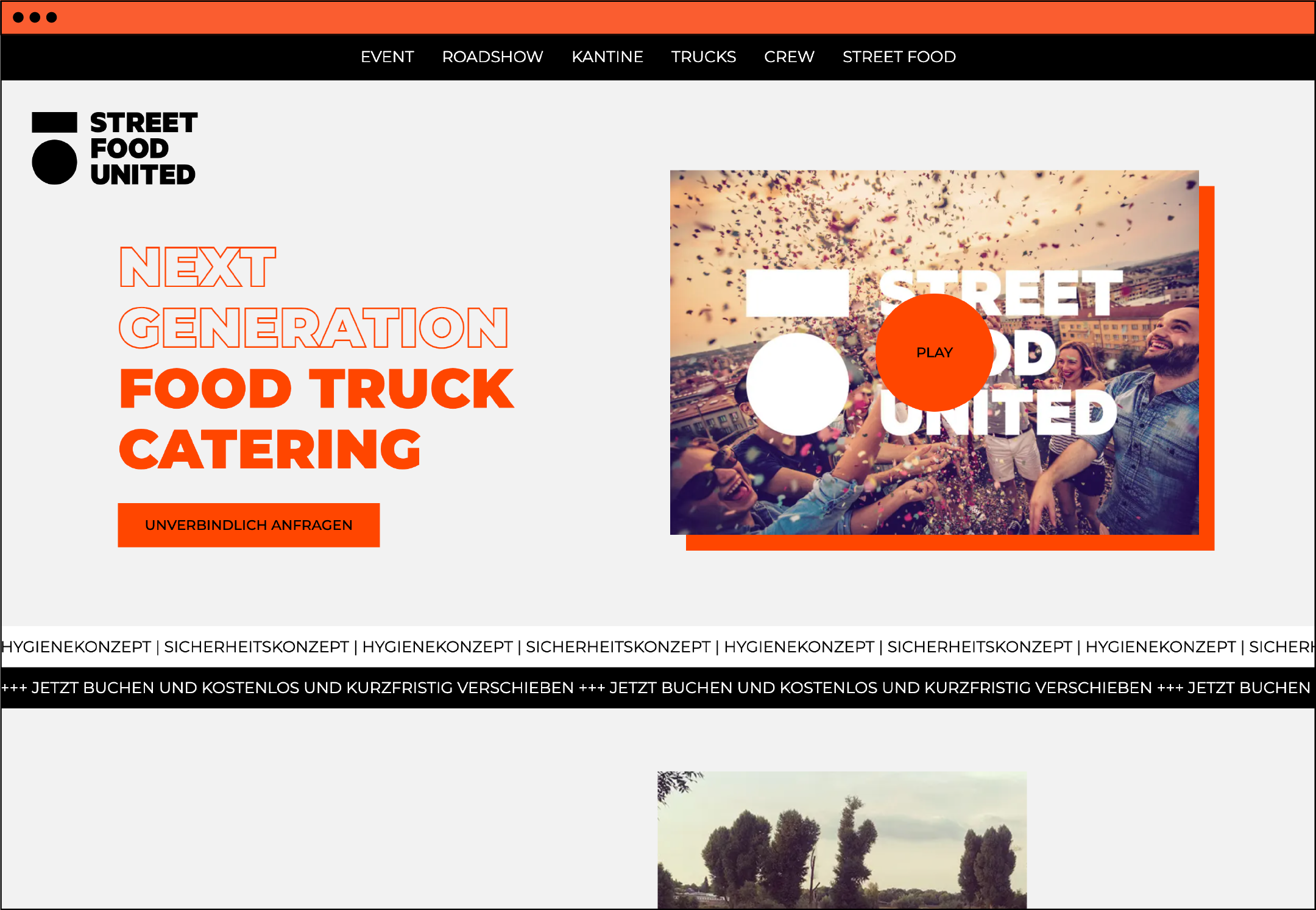 Website Webdesign Homepage UX UI Food Truck Werbeagentur aus Düsseldorf Markenberatung
