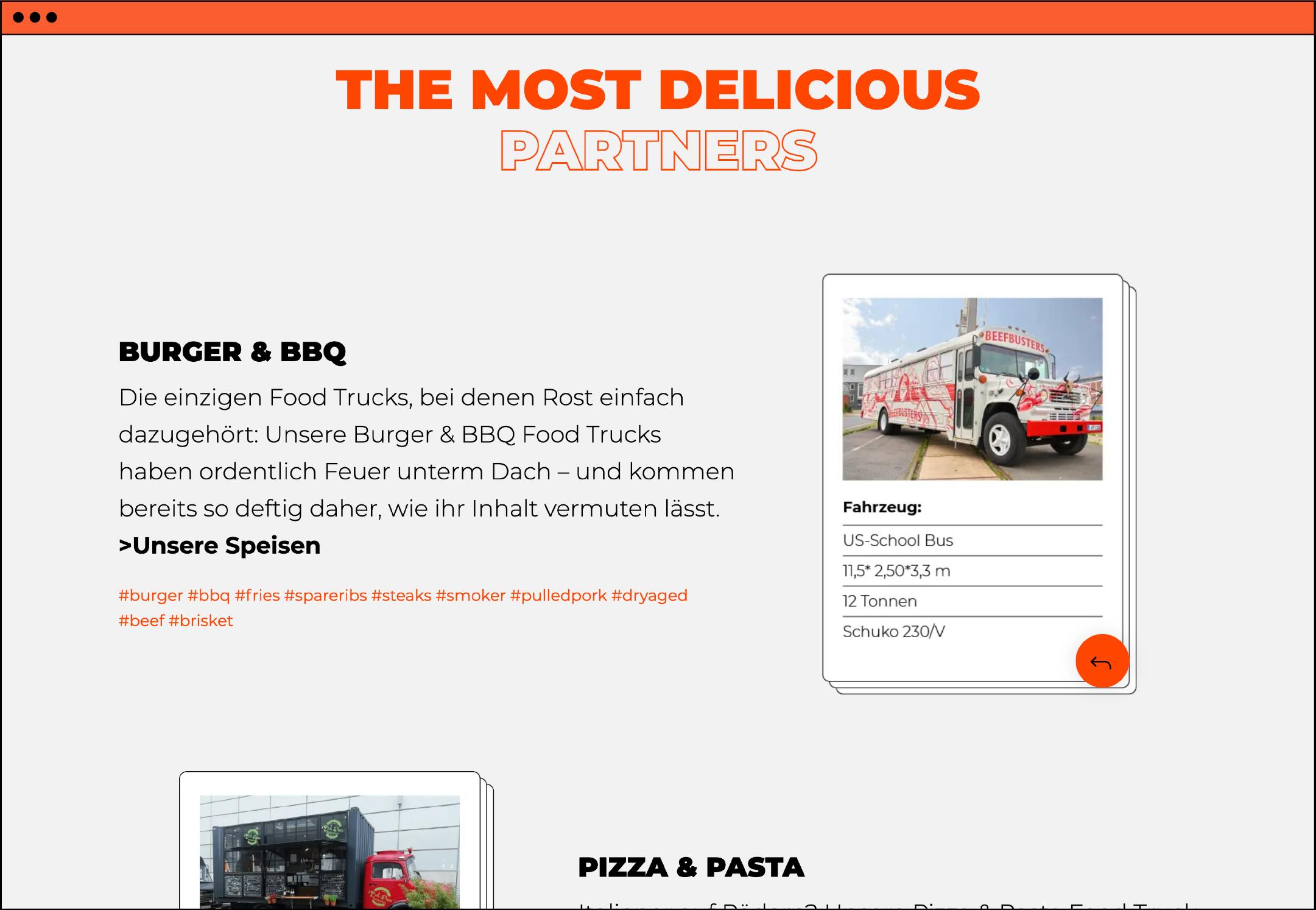 Website Webdesign Homepage UX UI Food Truck Website Webdesign Homepage UX UI Food Truck Werbeagentur aus Düsseldorf Markenberatung